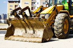 Bulldozer on building site Stock Photography
