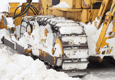 Bulldozer. Clear of snow. Royalty Free Stock Photos