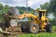 Bulldozer clearing bush Stock Photos