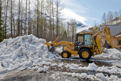 Bulldozer Clearing Snow Stock Photo