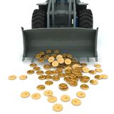 Bulldozer and coins Stock Images