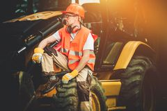 Bulldozer Concstruction Worker Royalty Free Stock Photo