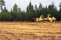 Bulldozer at construction site stock photo