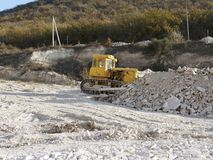 Bulldozer on construction site stock images