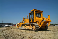 Bulldozer on construction site. Rear view Stock Photography