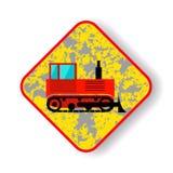 Bulldozer del cingolo del segnale stradale Fotografie Stock Libere da Diritti