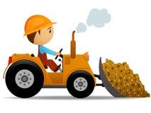 Bulldozer del fumetto sui lavori di costruzione Immagini Stock Libere da Diritti