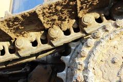 Bulldozer del trattore a cingoli nel cantiere durante dei bivi Immagini Stock Libere da Diritti