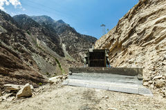Bulldozer doing road construction in Himalayas Stock Images