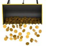 Bulldozer droping money stock image