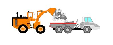 Bulldozer and dump truck Stock Images
