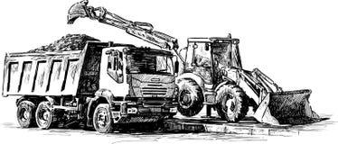 Bulldozer en stortplaatsvrachtwagen royalty-vrije illustratie