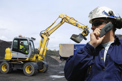 Bulldozer, engineer and driver Stock Photography