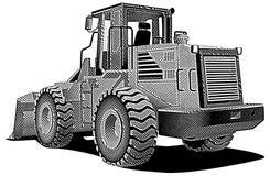 Bulldozer_engraving ilustração stock