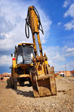 Bulldozer excavator on a construction site Stock Photo