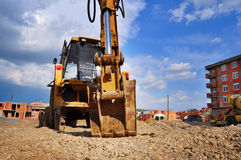 Bulldozer excavator on a construction site Stock Image