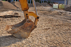 Bulldozer excavator on a construction site, bucket Royalty Free Stock Images