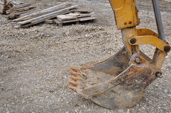 Bulldozer excavator on a construction site, bucket Royalty Free Stock Photography