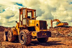 Bulldozer, Excavator, Heavy Machine Stock Images