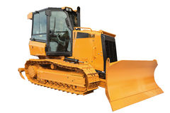 Bulldozer excavator , isolated on white with clipping path Stock Image