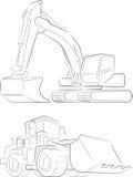 Bulldozer & Excavator Vector Line Art Stock Image