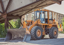 Bulldozer in the factory Stock Image