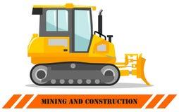 bulldozer Bulldozer Gedetailleerde illustratie van zwaar mijnbouwmachine en bouwmateriaal Vector illustratie stock illustratie