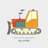 Bulldozer  icon. Heavy equipment vehicle  on white.  Royalty Free Stock Image