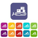 Bulldozer icons set flat. Bulldozer icons set vector illustration in flat style In colors red, blue, green and other Stock Photography