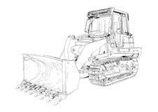 Bulldozer illustration art drawing Stock Photo