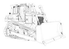 Bulldozer illustration art drawing Royalty Free Stock Photo