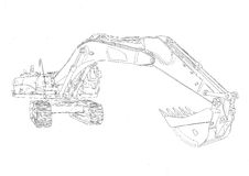 Bulldozer illustration art drawing sketch Royalty Free Stock Image