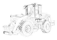 Bulldozer illustration art drawing sketch Royalty Free Stock Photos