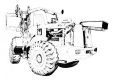 Bulldozer illustration art drawing sketch Royalty Free Stock Photography
