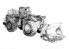 Bulldozer illustration art drawing sketch Stock Photography