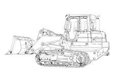 Bulldozer illustration art drawing sketch Royalty Free Stock Images