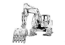 Bulldozer illustration art drawing sketch Royalty Free Stock Photography