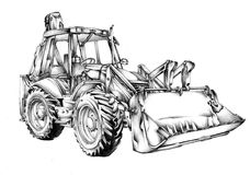 Bulldozer illustration art drawing sketch Stock Photos