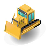 bulldozer. Isometric yellow model of bulldozer. Vector illustration Royalty Free Stock Photos