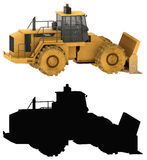 Bulldozer and its silhouette Stock Photo
