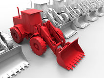 Bulldozer job assignment concept. 3D rendered illustration for the concept of job assignment for bulldozers. The composition is  on a white background with no Royalty Free Stock Photos