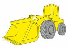 Bulldozer konstruktionsmedel Enkelt schakta begrepp royaltyfri illustrationer