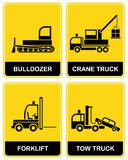 Bulldozer, kraan, slepenvrachtwagen vector illustratie