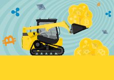 Bulldozer loaded with cryptocurrencies. Small bulldozer loaded with cryptocurrencies. Flat vector illustration Stock Photo