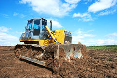 Bulldozer loader excavator at work Royalty Free Stock Photography