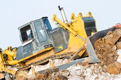 Bulldozer loader at winter frozen Stock Photo