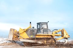 Bulldozer loader at winter frozen Stock Images