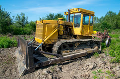 Bulldozer. Mechanical Site Preparation for Forestry. Stock Photos