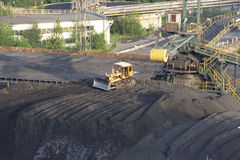 Bulldozer near coal mine Stock Photo
