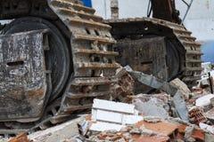 Bulldozer over rubbish Stock Photo